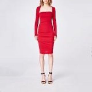 Nicole Miller Atelier Red Ruched Midi Dress L